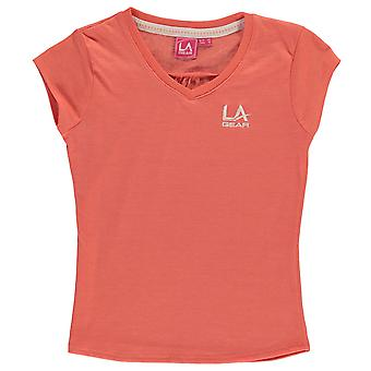 LA Gear Kids Junior Girls V Neck T Shirt Short Sleeve Tee Top Clothing