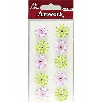 Pink And Green Flowers Craft Embellishment By Artoz