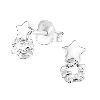Διπλά αστέρια - ασημένια κυβικά στηρίγματα αυτιών Zirconia 925 - W30618x
