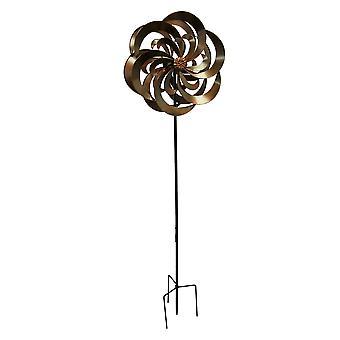Bronze Finish Metal Art Dual Spinning Flower Wind Sculpture Garden Stake