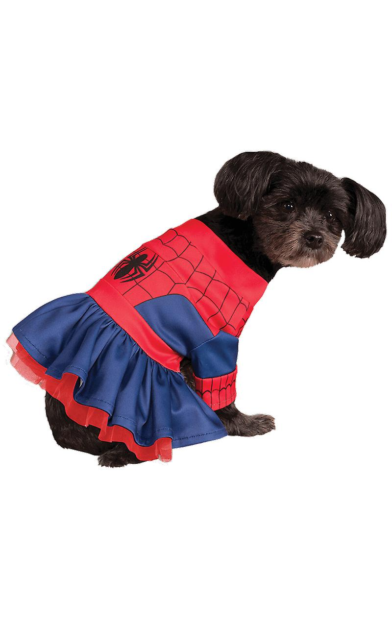 Dog Costume Spider Girl Spiderman Novelty Funny Pet Fancy Dress Costume
