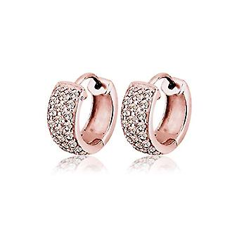 Elli Earrings Women's Circle in Silver 925 - Rose Gold Plated with Swarovski Crystals - Brilliant Cut