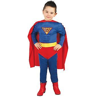 Boys Muscle Superhero Fancy Dress Costume