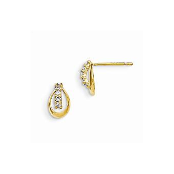 14k Yellow Gold Polished Madi K CZ Cubic Zirconia Simulated Diamond for boys or girls Post Earrings Measures 9x6mm Wide