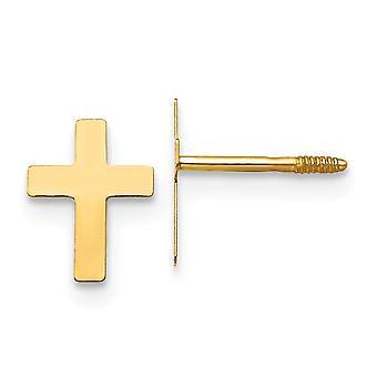 14k gult gull polert skrue tilbake religiøs tro kors øredobber måler 8x5mm smykker gaver til kvinner