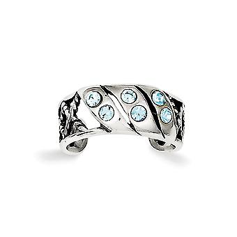 925 Sterling Silver Solid Polished Blue Crystal Toe Ring Jewelry Gifts for Women