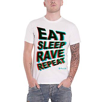 Fatboy Slim T Shirt Eat Sleep Rave Repeat Logo new Official Mens White