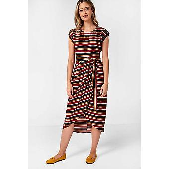 iClothing Fae Wrap Front Dress In Red Multi Stripe-16