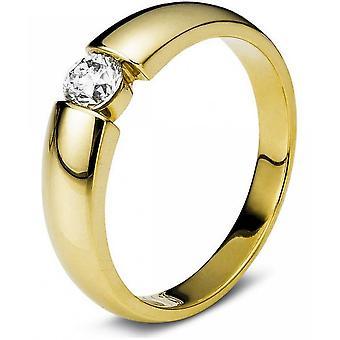 Diamond Ring Ring - 14K 585 Or Jaune - 0.27 ct.