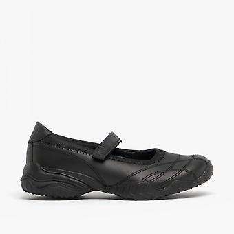 Skechers Velocity Pouty Girls Leather School Shoes Black