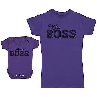 Mini Boss & The Boss - Baby Gift Set with Baby Bodysuit & Mother's T-Shirt