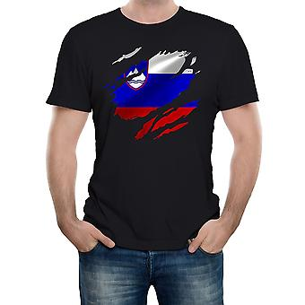 Reality glitch torn slovenia flag mens t-shirt