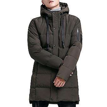 Allthemen Men's Solid Hodded Mid-Length Coat Winter Warm Outwear Fluffy Hoodies