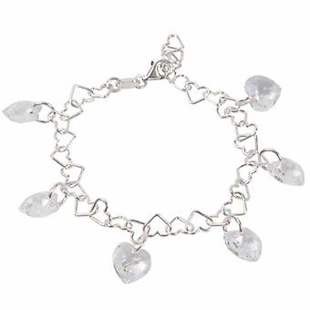 TOC Sterling Silver Heart Link Bracelet With Charms Made With Swarovski Crystals