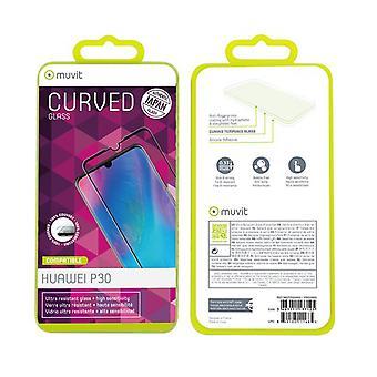 Filme para Huawei P30 Proteção de tela temperado contorno preto curvo de vidro