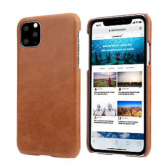 For iPhone 11 Pro Case Elegant Genuine Leather Back Shell Protective Cover Brown