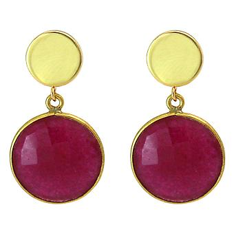 Gemshine earrings red ruby gemstones 925 silver or precious gold plated