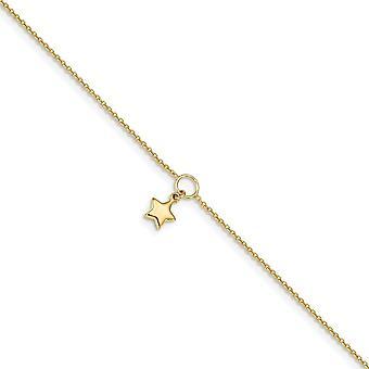 7.93mm 14k kiillotettu Dangle Star 1 In Ext Nilkkakoru 10 tuuman korut lahjat naisille - 2,1 grammaa