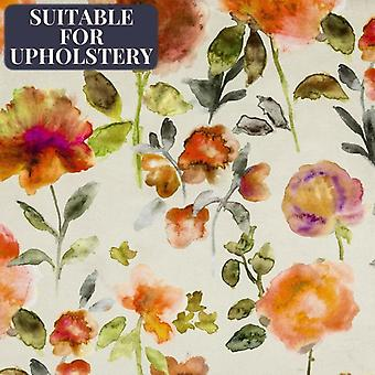 McAlister textilier Renoir blommig bränd orange sammet tyg