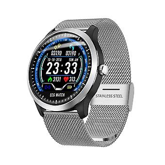 Lemfo Sports SmartWatch N58 ECG PPG + Fitness Sport Activité Tracker Smartphone Watch iOS iPhone Android Samsung Huawei Silver Metallic