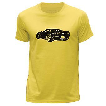 STUFF4 גברים ' s צוואר עגול חולצת טריקו/שסטנסיל רכב אמנות/קורבט Z06/צהוב