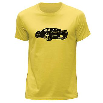 STUFF4 Men's Round Neck T-Shirt/Stencil Car Art / Corvette Z06/Yellow