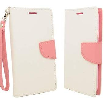 Aimo Deluxe Flip Leather Case for Samsung Galaxy S5 - White/Light Pink