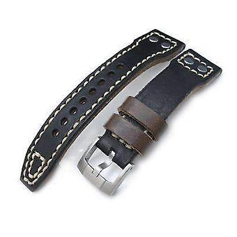 Strapcode læder urrem 21mm, 22mm miltat sort trække op anilin italiensk læder urrem, nitte militær rem