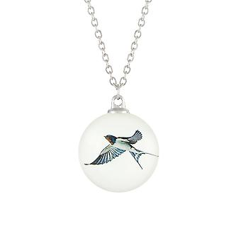Eternal Collection Feathered Friends Swallow Double Sided Glass Silver Tone Bird Pendant