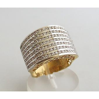 Golden Christian ring with zirconia
