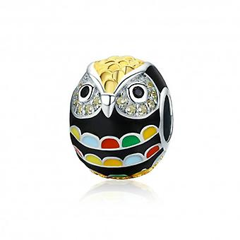Sterling Silver Charm Colorful Owl - 5491