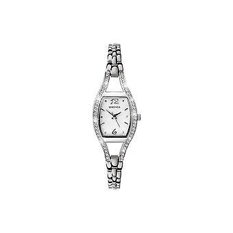 Sekonda Dames Rechthoekige Zilveren Wijzerplaat Stone Bezel Roestvrij stalen armband horloge 4191