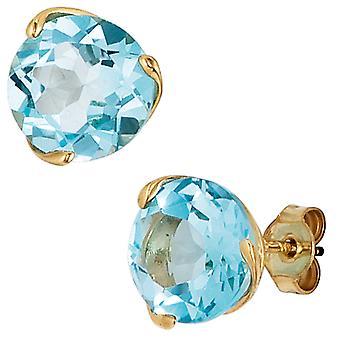 Studs runde 585 guld gult guld 2 blå topase lyseblå blå øreringe