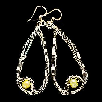 "Yellow Cultured Pearl 925 Sterling Silver Earrings 2 1/4""  - Handmade Boho Vintage Jewelry EARR400567"