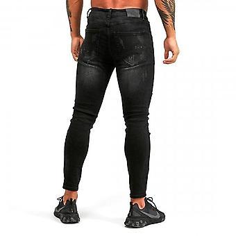 Kings Will Dream Rocket Carrot Skinny Fit Stretch Black Denim Rip & Paint Jeans