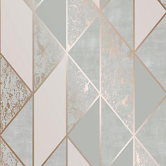 Superfresco Milan Geo Wallpaper Grey / Rose Gold Graham and Brown 106407