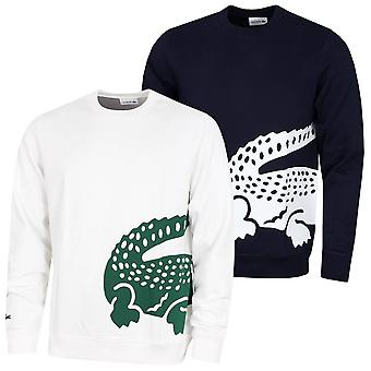Lacoste Herren SH5177 gerippten Hals Fleece große Krokodil Logo Pullover