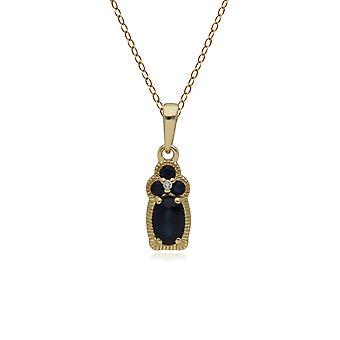 الكلاسيكية الياقوت و قلادة قلادة الماس قلادة في 9 قهقل الذهب الأصفر 135P1805019