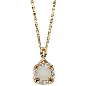 Elements Gold Opal and Diamond Pendant - Gold/Clear