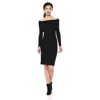 Lark & Ro Women's Long Sleeve Bateaux Neck Sweater Dress, Black,Large