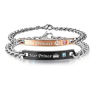 Love Bracelet-Couples Jewelry-Her Prince/His Princess