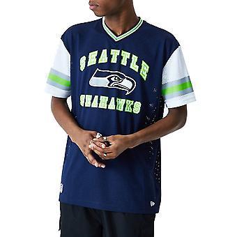 New Era Seattle Seahawks NFL Stripe Sleeve Oversized Short Sleeve T-Shirt in Oceanside Blue