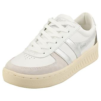 Gola Grandslam Metallic Womens Casual Trainers in White Silver