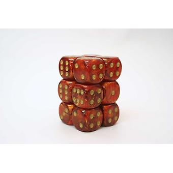 Chessex 16mm D6 Block of 12 - Scarab Scarlet/gold