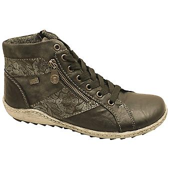 Remonte Grey Waterproof Lace Up Ankle Boot With A Floral Design