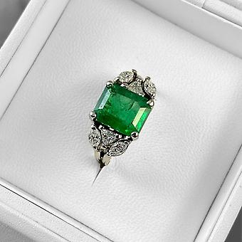 Snipe Ring 18K White Gold with Natural Emerald 3.4ct and Diamonds 0.3ct