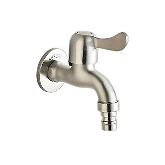 Stainless Steel 4 Points Washing Machine Faucet Silver