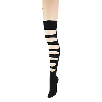 Women's Slashed Cut Out Plain Women's Over The Knee Socks 4-6 UK