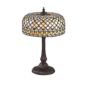 2 Lys medium bordlampe Mørk bronze, Tiffany Glas, E14