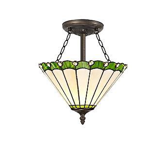 Iluminación luminosa - 3 light Semi Flush Ceiling E27 con 30cm Tiffany Shade, verde, cristal, envejecido latón antiguo